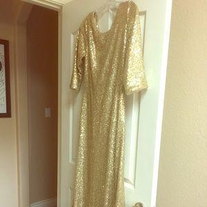 Sz 8 Gold sequined CHRISTINA WU Celebrations 22773